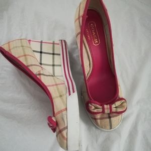 Coach Sweetie Plaid Wedge Canvas Shoes with bows